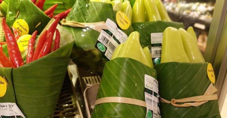 Asia: Los supermercados usan hojas de plátano en lugar de bolsas de plástico