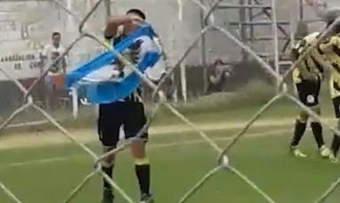Río Negro: Festejó un gol con la bandera de Malvinas y le sacaron tarjeta roja