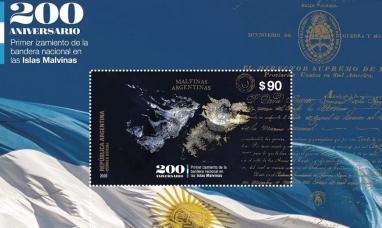Presentan un sello postal a 200 años del izamiento de la bandera en las islas Malvinas