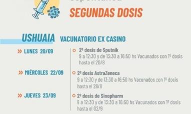 Tierra del Fuego: Desde gobierno informan el cronograma de segundas dosis a demanda voluntaria para completar esquema de vacunación