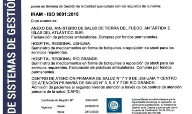 Tierra del Fuego: El ministerio de salud revalidó la certificación de calidad ISO 9001:2015