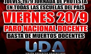 La UDA convoca a paro nacional docente para el viernes 20