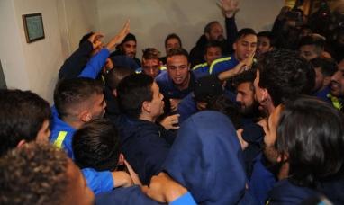 Boca campeón: Festejo del plantel en bahía blanca