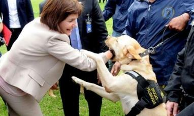 Insólito: un perro anti drogas se abalanzó contra la ministra de seguridad