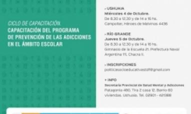 Tierra del Fuego: Gobierno concretará la primera capacitación del programa de prevención de las adicciones en el ámbito escolar