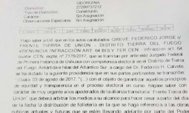 Tierra del Fuego: La justicia Federal intimó a la gobernadora que cese de violar la ley electoral haciendo campaña por Laura Colazo